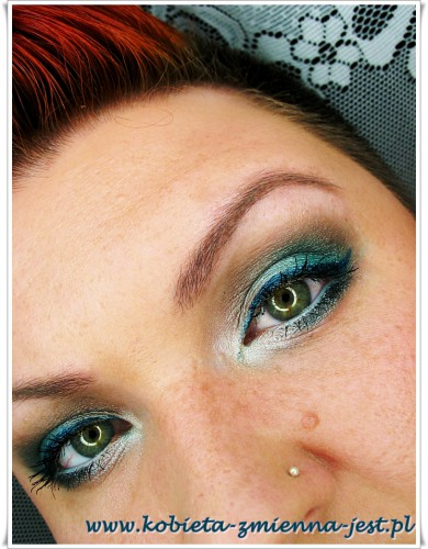 makijaż turkus zieleń dzienny lekki zabawny