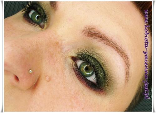 złoto czerń fiolet oberżyna make up makijaż