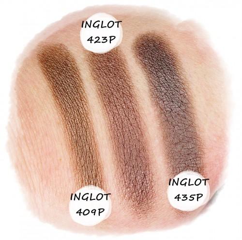 Inglot 409 Inglot 423 Inglot 435 Pearl swatch recenzja makijaż blog