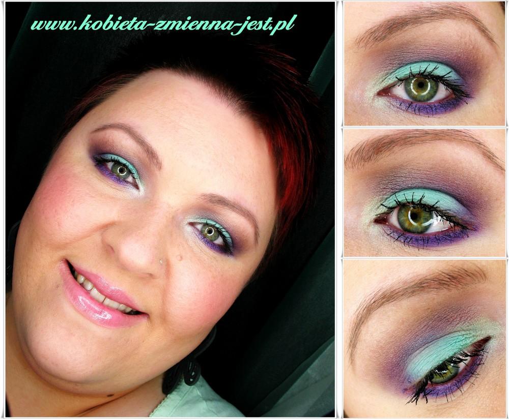 makijaż miętowy matowy dzienny inglot fiolet blog