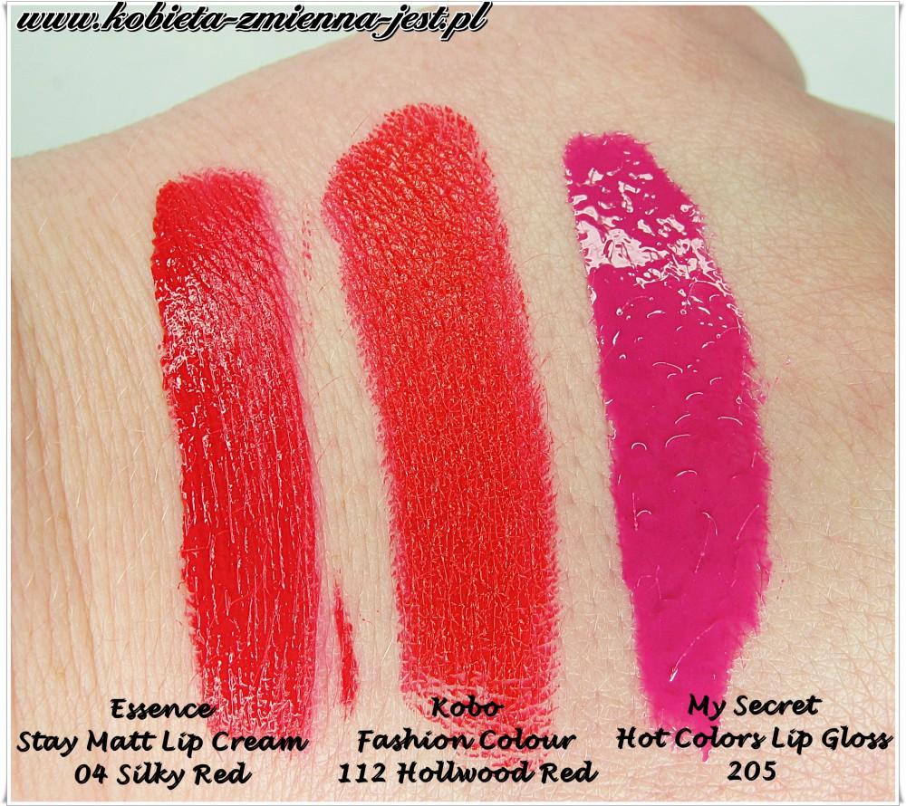 Blog swatche ESSENCE STAY MATT LIP CREAM 04 SILKY RED My Secret Hot Colors lip gloss 205 KOBO FASHION COLOUR 112 HOLLYWOOD RED