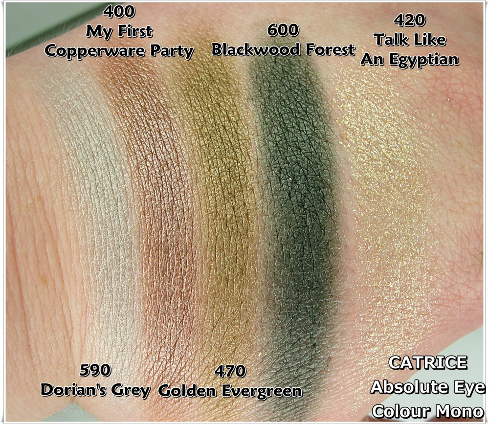 Catrice Absolute Eye Colour Mono 400 420 470 590 600 swatche blog