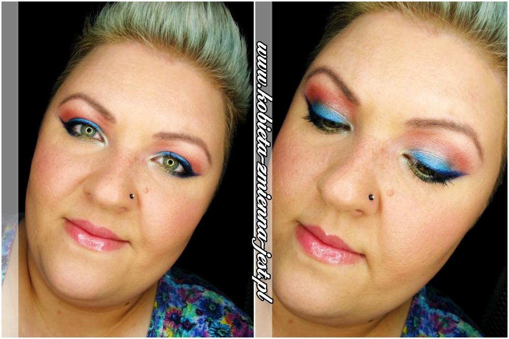 makijaż make up makeup morze letni makijaż color full blog jak zrobić błękit granat zieleń pomarańcz paleta technic electric bright