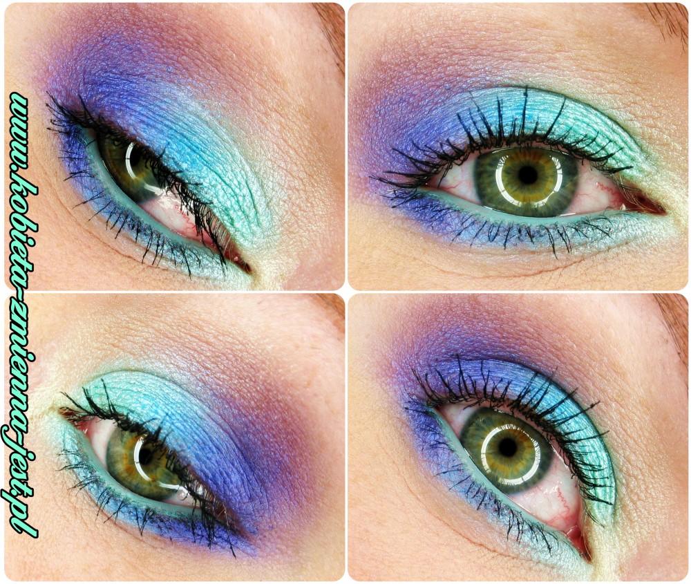 makijaż make up makeup pastele lato mint pastels fiolet mięta blue blog paleta technic electric bright metaliczny