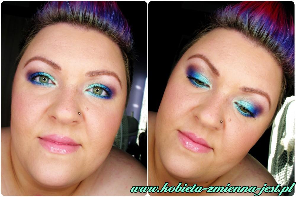 makijaż make up makeup pastele lato mint pastels fiolet mięta blue blog technic electric bright metaliczny