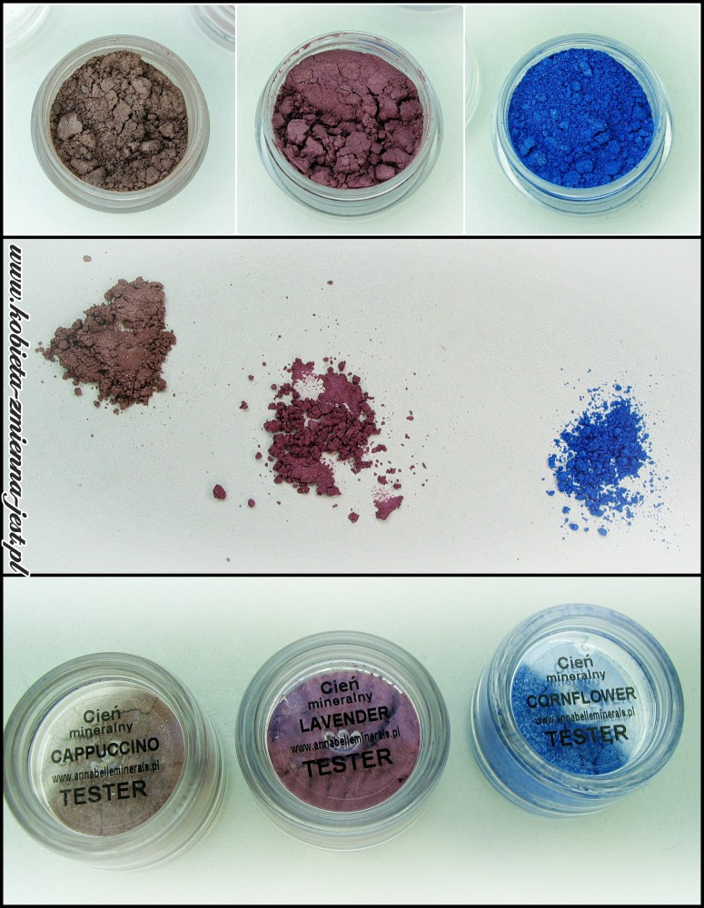 annabelle minerals cień mineralny cappuccino lavender cornflower blog swatche real foto minerały