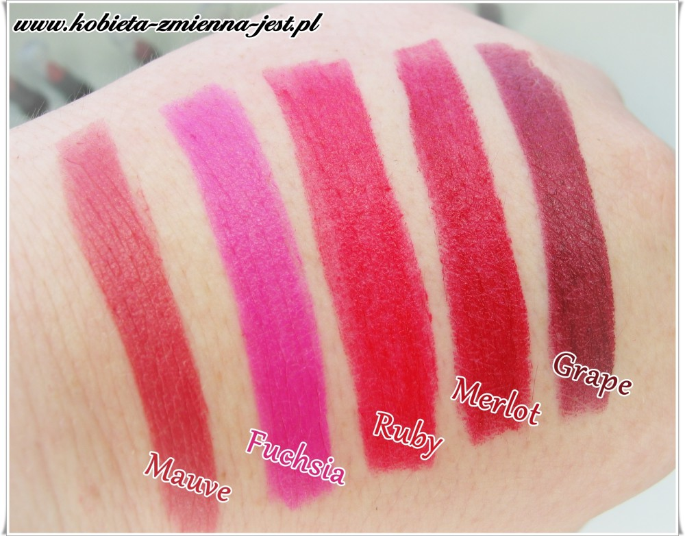 matowa szminka Avon Ultra Colour swatche mauve fuchsia ruby merlot grape blog