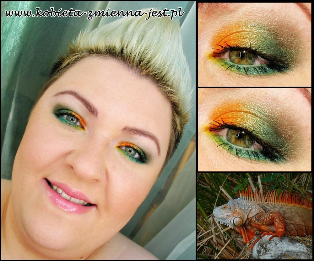 paletka sleek curacao jak zrobić makijaż blog swatche tropikalny make up iguana orange green mint tytułowa