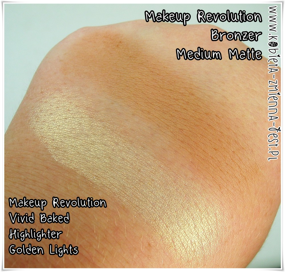 Makeup Revolution Highlighter Golden Lights Makeup Revolution Bronzer Medium Matte blog swatches review