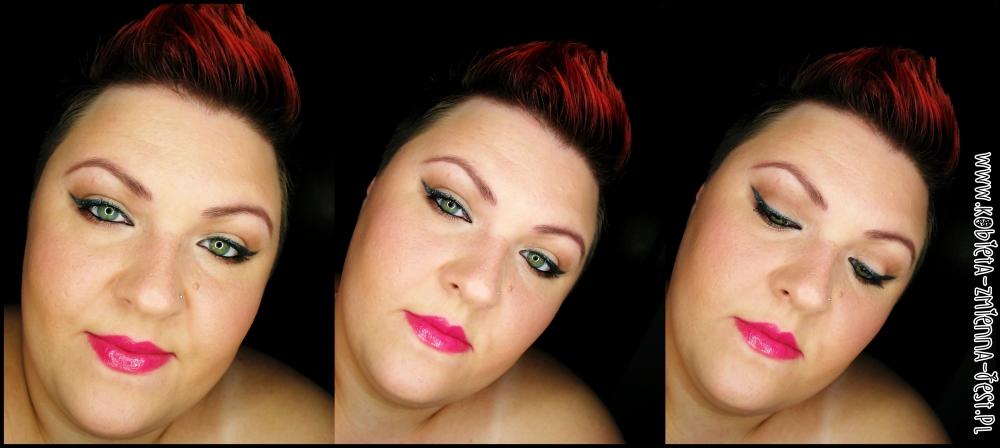 Makijaż Metaliczna Grafitowa Kreska I Fuksja Na Ustach