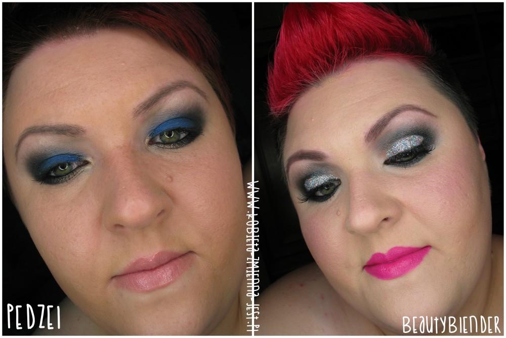 porównanie efektu nakładania podkładu pędzlem a beautyblenderem efekt przed i po blog makeupblogger recenzja review ambasadorka beautyblonder testerka