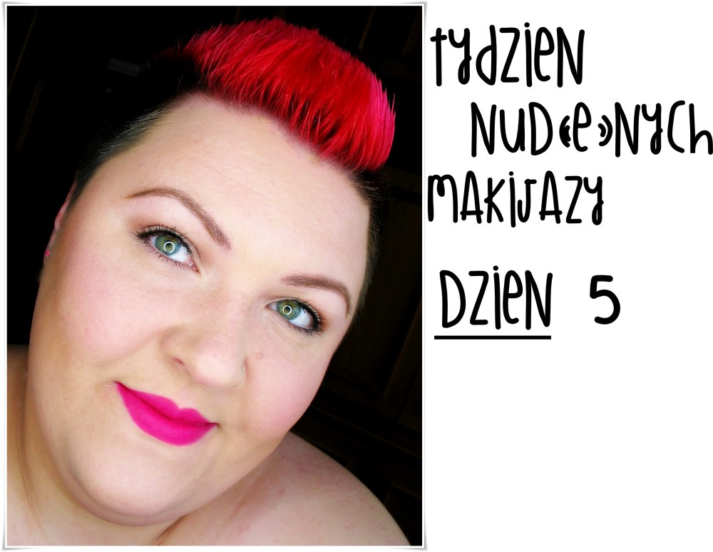 makijaż makeup makeup nude bourjois rouge edition velvet 06 pink pong mocne usta fuksja na ustach makijaż dziennym z mocnymi ustami