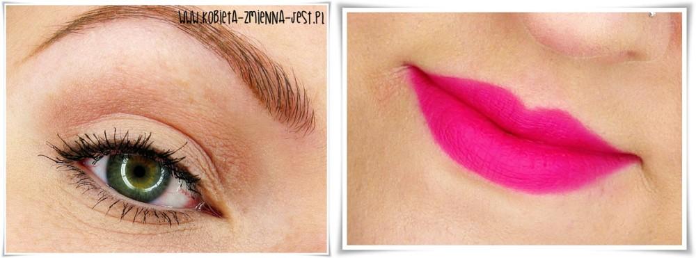 makijaż makeup makeup nude bourjois rouge edition velvet 06 pink pong mocne usta fuksja na ustach makijaż dziennym z mocnymi ustami eyes