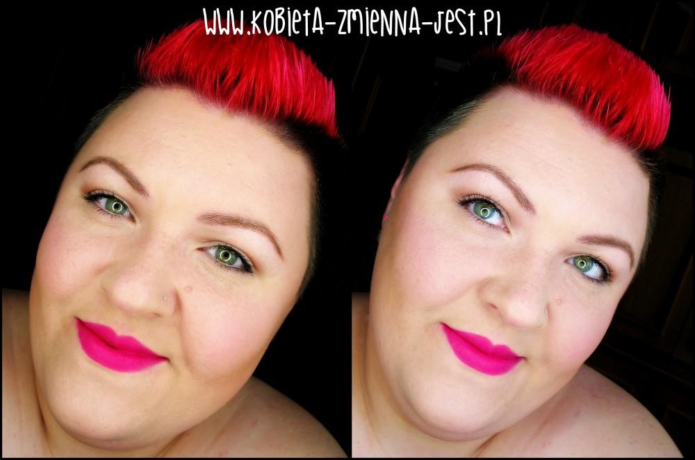 makijaż makeup makeup nude bourjois rouge edition velvet 06 pink pong mocne usta fuksja na ustach makijaż dziennym z mocnymi ustami face blog makeupblogger