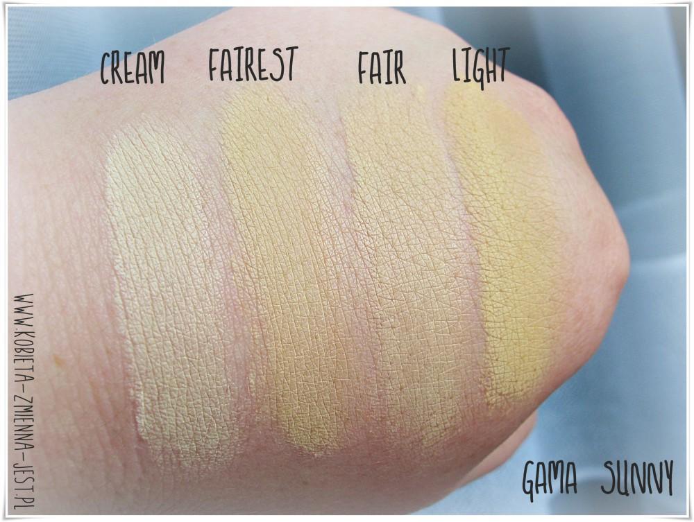 annabelle minerals gama kolorystyczna sunny cream fairest fair light wszystkie kolory swatche podkład kryjący