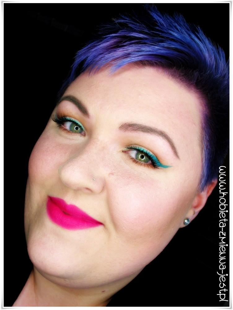 makijaż makeup fuksja usta strong lips green mint eyeliner makeupblogger blog bourjois rouge edition velvet 06 pink pong jestę blogerkę urodziny bloga