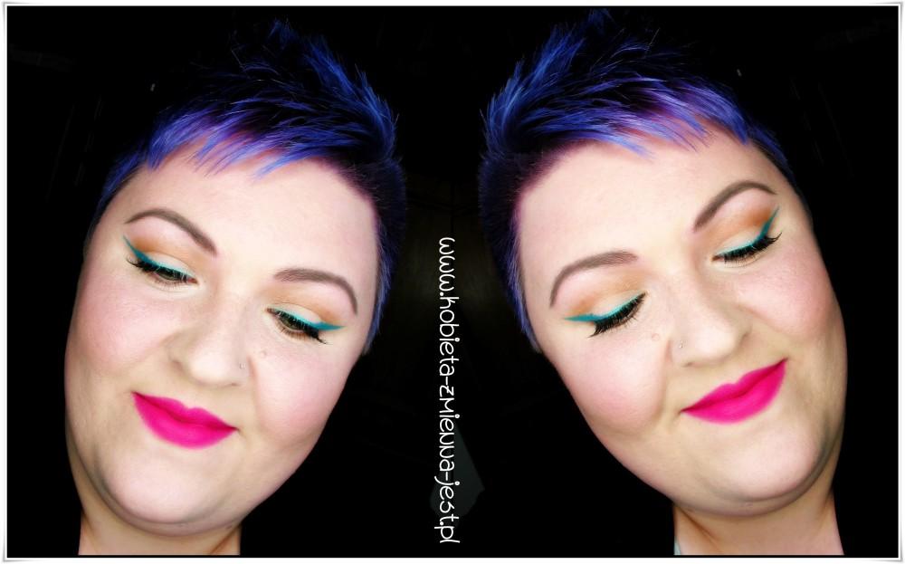 makijaż makeup fuksja usta strong lips green mint eyeliner makeupblogger blog bourjois rouge edition velvet 06 pink pong jestę blogerkę urodziny bloga eyes