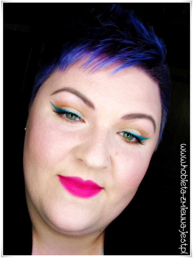 makijaż makeup fuksja usta strong lips green mint eyeliner makeupblogger blog bourjois rouge edition velvet 06 pink pong jestę blogerkę urodziny bloga face