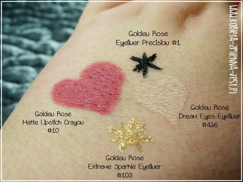 Golden Rose Dream Eyes Eyeliner #426 Golden Rose Eyeliner Precision #1Golden Rose Extreme Sparkle Eyeliner #103 Golden Rose Matte Lipstick Crayon #10