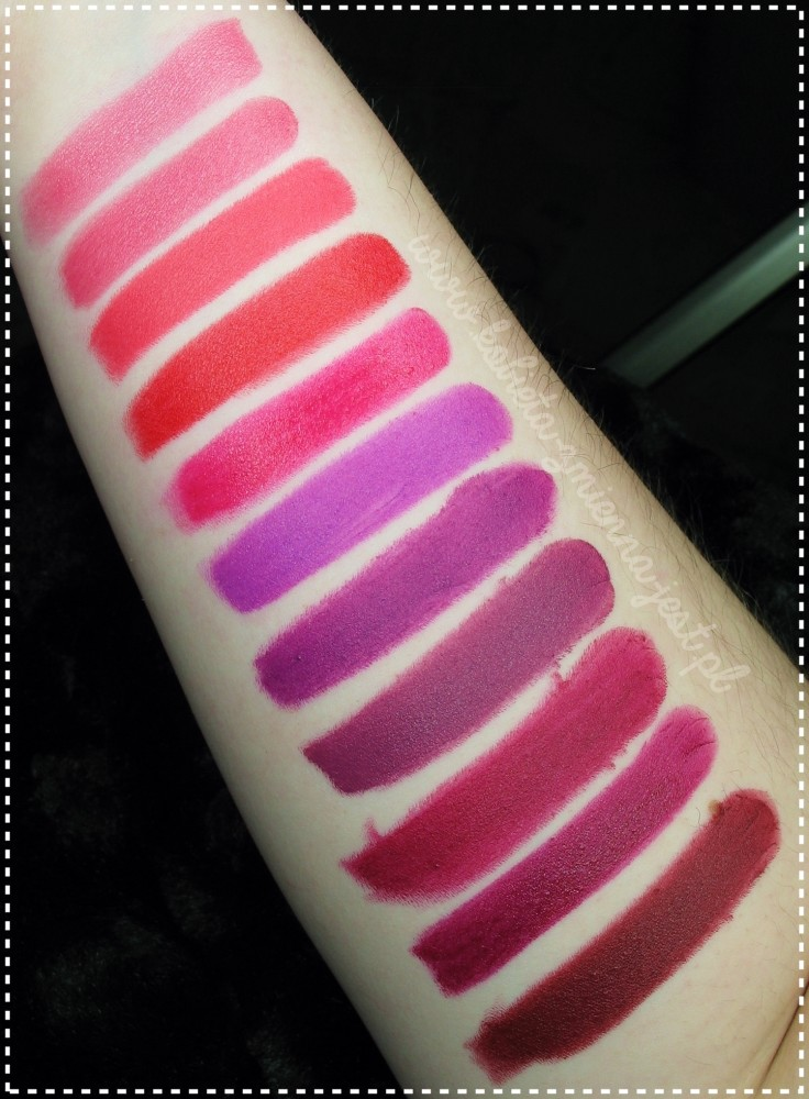 swatches blog opinia najlepsze szminki 2016 roku lipstick Rimmel The only 1 Kobo Matte Lips Lovely Creamy Color Makeup Revolution iconic pro lipstick