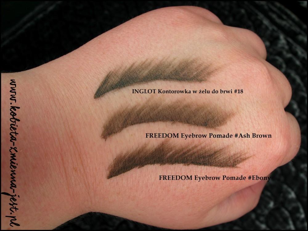 Freedom Makeup Eyebrow Pomade swatches Ash Brown Ebony Inglot konturówka do brwi w żelu 18