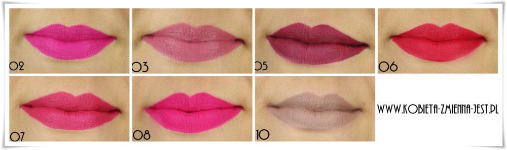 Golden Rose Longstay Liquid Matte Lipstick 02 03 05 06 07 08 10 swatche na ustach 2wszystkie kolory blog