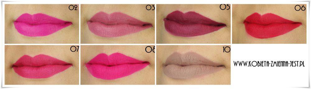 Golden Rose Longstay Liquid Matte Lipstick 02 03 05 06 07 08 10 swatche na ustach wszystkie kolory blog