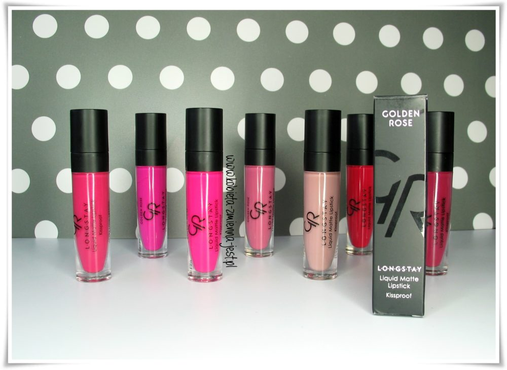 Golden Rose Longstay Liquid Matte Lipstick swatche wszystkie kolory blog opis kolorów