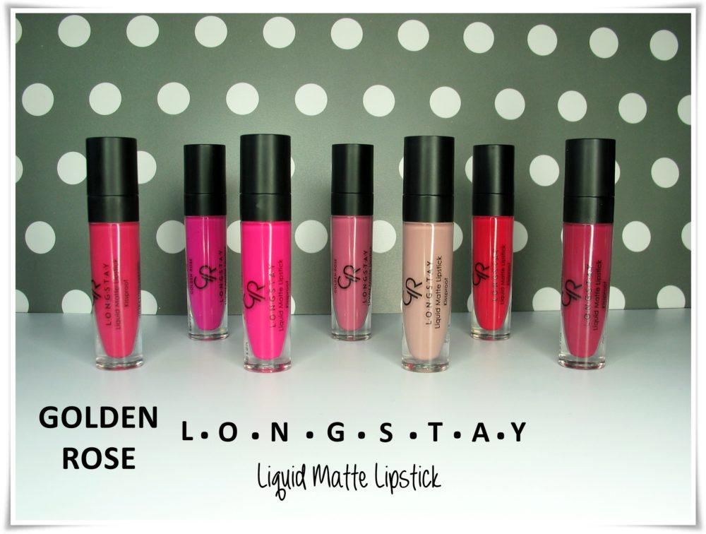 Golden Rose Longstay Liquid Matte Lipstick swatche wszystkie kolory blog tytuł