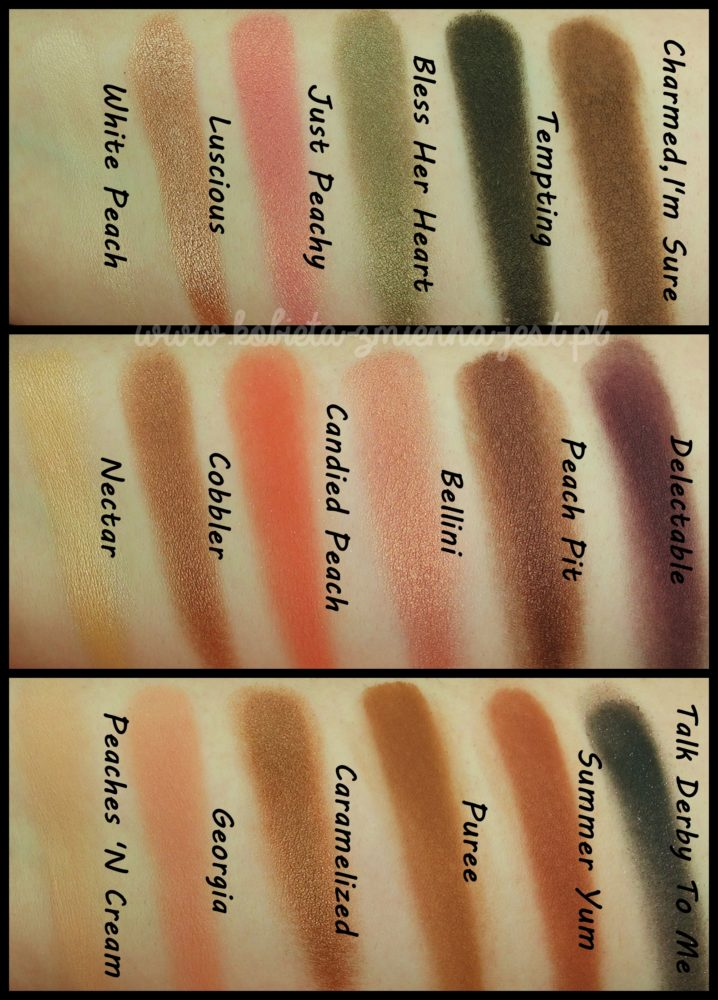 Too Faced Sweet Peach Palette swatches blog real foto 2