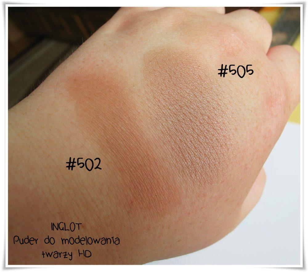 Inglot Puder do modelowania twarzy HD 502 505 beauty blog najlepsze konturowanie swatche